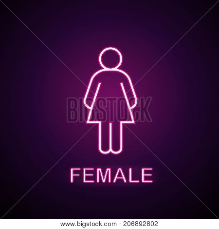 Female silhouette neon light icon. Ladies WC door glowing sign. Women's clothes department store. Vector isolated illustration