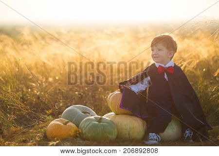 Happy Young Boy Dressed As A Dracula With Pumpkins For Halloween