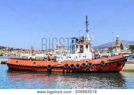 SPLIT, CROATIA - 12 JULY, 2017: Ship enters the port of Split Croatia