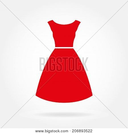 Dress icon. Red women's dress. Vector illustration.
