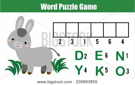 Words puzzle children educational game with numbers code. Place the letters in right order. Learning vocabulary and numbers. Animals theme