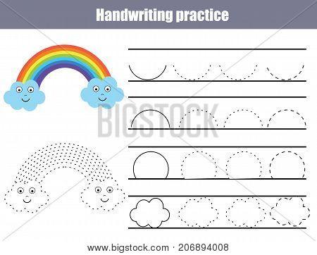Handwriting practice sheet. Educational children game printable worksheet for kids. Writing training printable worksheet with arc shapes and cute rainbow