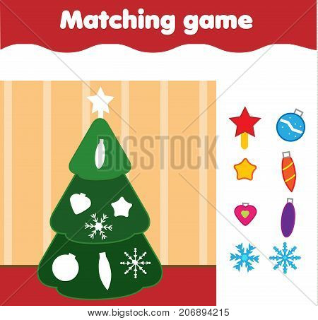 Matching children educational game. Match by shape kids activity. Stickers game with New Year Christmas tree for toddlers