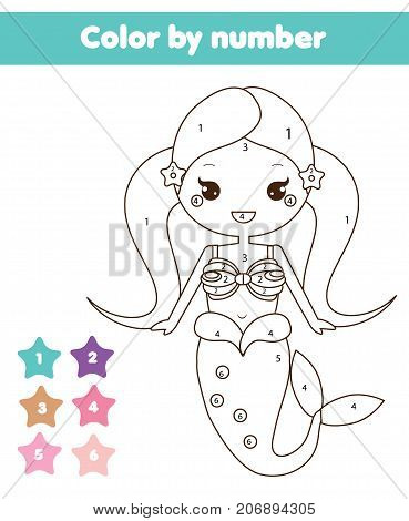 Children educational game. Coloring page with mermaid. Color by numbers printable activity worksheet for toddlers and pre school age