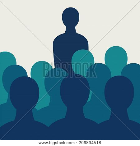 People gathering. Stock vector illustration of a crowd of men listening to one person. Minimalistic flat style.