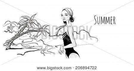 Young girl in monokini on sea beach, palm trees on the shore. Vector illustration in sketch style, isolated on white.