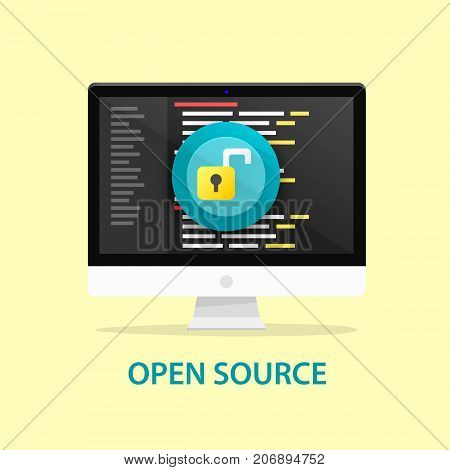 Open source code, computer programming. Vector illustration
