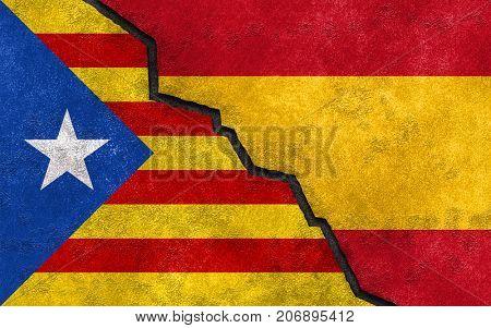 Catalan independence referendum in Spain flag concept.
