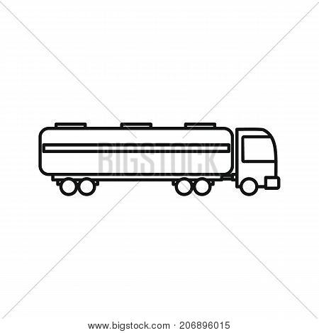 Petrol truck icon. Black outline illustration of Petrol truck vector icon for web isolated on white background
