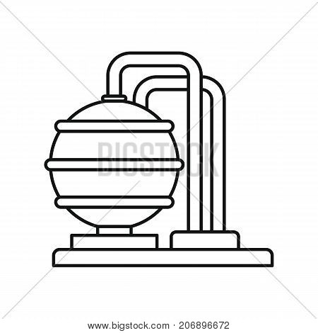 Oil storage icon. Black outline illustration of Oil storage vector icon for web isolated on white background
