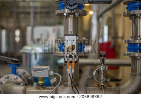 Automatic piping system and valves. Selective focus.