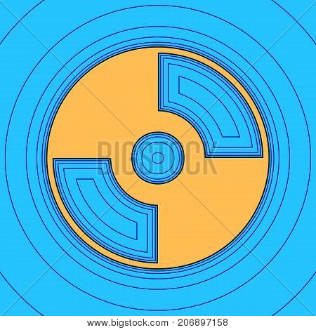 Vector CD or DVD sign. Vector. Sand color icon with black contour and equidistant blue contours like field at sky blue background. Like waves on map - island in ocean or sea.