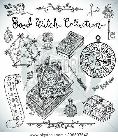 Hand drawn collection with Halloween objects - magic book, pentagram, old clock, potion bottle, etc. Graphic vector engraved illustration with design elements for poster, invitation, banner
