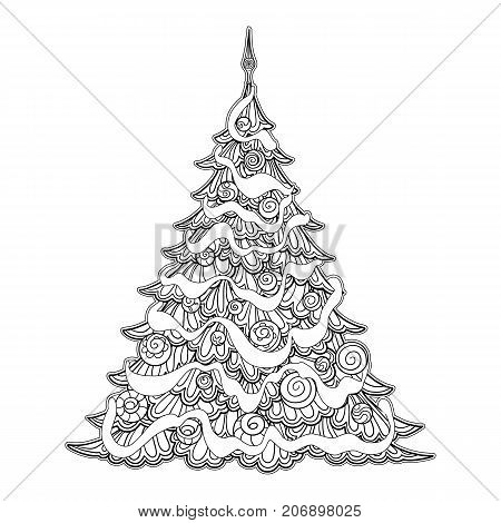 Christmas tree. Contour drawing. Good for coloring page for the adult coloring book. Stock vector illustration.