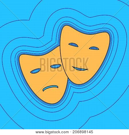 Theater icon with happy and sad masks. Vector. Sand color icon with black contour and equidistant blue contours like field at sky blue background. Like waves on map - island in ocean or sea.