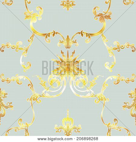 Seamless pattern with richly decorated rococo style floral decor elements. In vintage gold colors. Stock vector illustration.