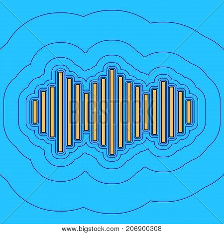 Sound waves icon. Vector. Sand color icon with black contour and equidistant blue contours like field at sky blue background. Like waves on map - island in ocean or sea.