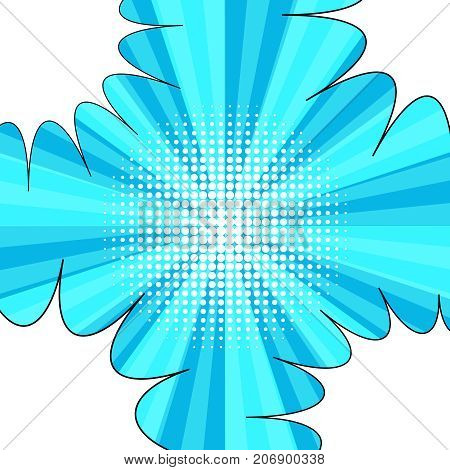 Comic book blue background with four blank speech bubbles in corners, halftone and radial effects in pop art style. Vector illustration