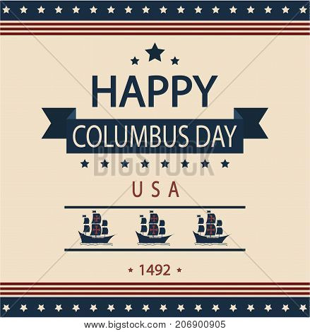 Happy Columbus day card or background. vector illustration.