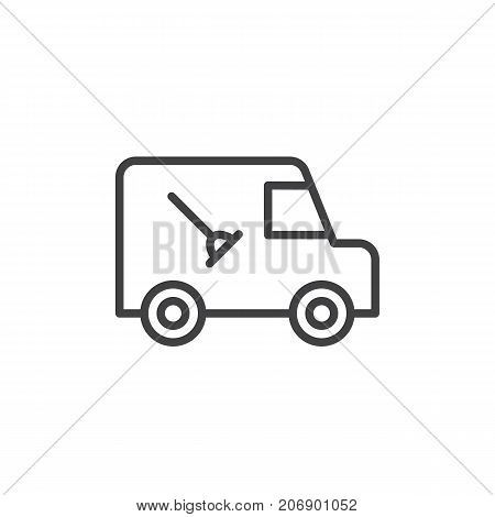 Plumber service automobile line icon, outline vector sign, linear style pictogram isolated on white. Symbol, logo illustration. Editable stroke