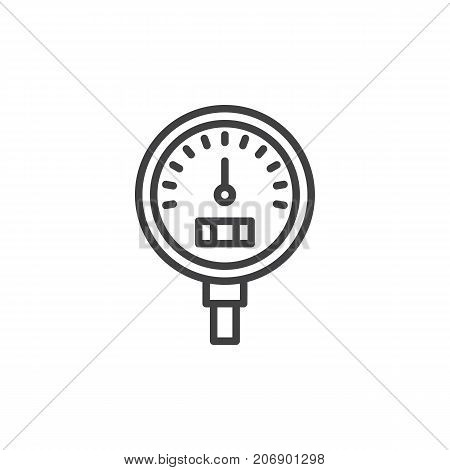 Gauge line icon, outline vector sign, linear style pictogram isolated on white. Symbol, logo illustration. Editable stroke