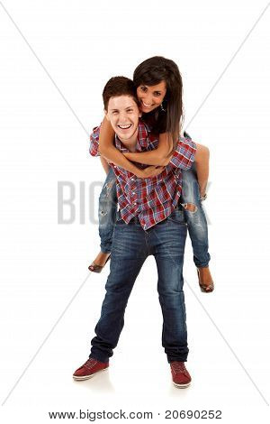 Couple Playing Together Piggyback