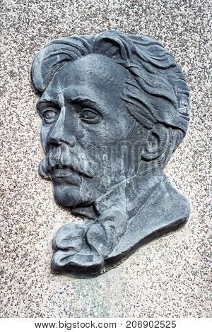 VILNIUS LITHUANIA _ March 13 2017.Bas-relief of famous Lithuanian composer and painter M. K. Ciurlionis on his grave