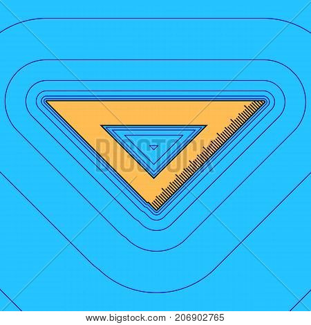 Ruler sign illustration. Vector. Sand color icon with black contour and equidistant blue contours like field at sky blue background. Like waves on map - island in ocean or sea.