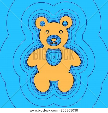 Teddy bear sign illustration. Vector. Sand color icon with black contour and equidistant blue contours like field at sky blue background. Like waves on map - island in ocean or sea.