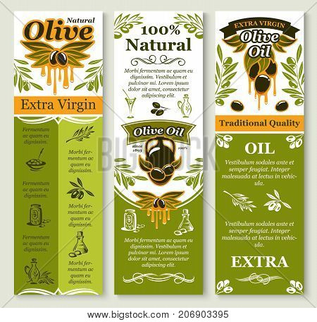 Olive oil banners or extra virgin product package labels design template of green and black olives, oil drops and branches. Vector set for bottles and traditional organic Italian cuisine