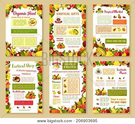 Exotic fruits posters or brochure of tropical papaya, guava or maracuya and carambola. Vector set of passion fruit, durian or lichee and rambutan, dragon fruit or mangosteen and juicy tropic avocado