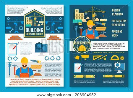 Home constru tion and house building planning poster or brochure template. Vector flat design of engineering and interior designing work tools, engineer builder with ruler, pencil or plan at brickwork
