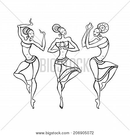 Dancing woman in ethnic style. Beautiful asian dancer. Ethno dance silhouettes. Vector Illustration