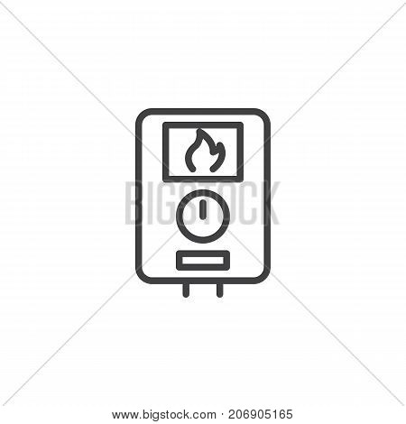 Water heater line icon, outline vector sign, linear style pictogram isolated on white. Symbol, logo illustration. Editable stroke