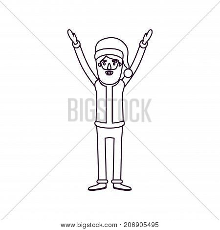 santa claus caricature full body with hands up hat and costume silhouette on white background vector illustration