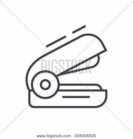 stapler vector line icon, sign, illustration on white background, editable strokes