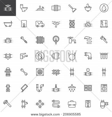 Plumbing line icons set, outline vector symbol collection, linear style pictogram pack. Signs, logo illustration. Set includes icons as valve, toilet, plumber, pipes, bathtub, wrench, washer machine
