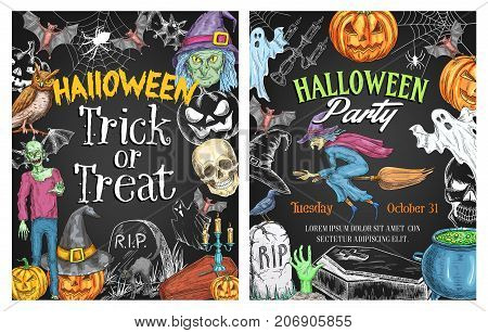 Halloween holiday horror party poster on chalkboard. Spooky Halloween pumpkin lantern, flying ghost, bat and witch sketch banner with creepy skull, zombie, spider and grave for Halloween themes design