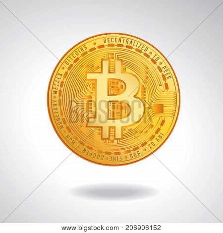 PrintBitcoin. Physical bit coin. Digital currency. Cryptocurrency. Golden coin with bitcoin symbol isolated on white background. Stock vector illustration.