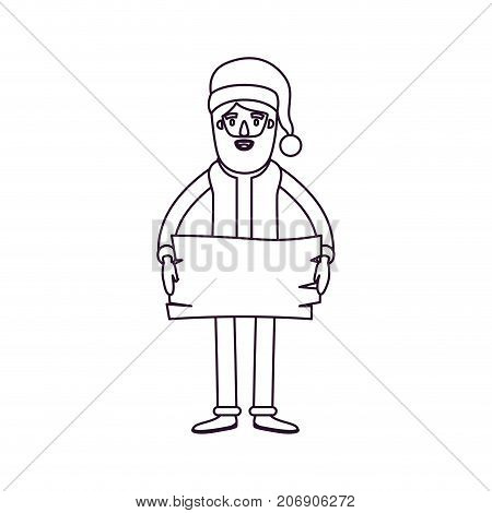 santa claus caricature full body holding a wooden piece with hat and costume silhouette on white background vector illustration