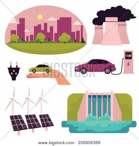 Electric car infographic elements, cartoon vector illustration isolated on white background. Electric car, charging station, ecology conservation, air pollution, solar panels and water turbine concept