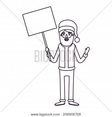 santa claus caricature full body holding a poster with pole with hat and costume silhouette on white background vector illustration