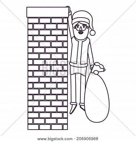 santa claus caricature full body hanging of chimney brick fireplace and holding a gift bag with hat and costume silhouette on white background vector illustration