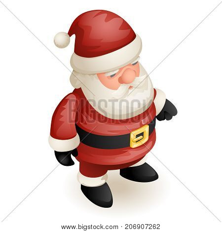 Isometric 3d Christmas Cute Santa Claus Grandfather Frost New Year Cartoon Design Character Isolated Template Icon Vector Illustration