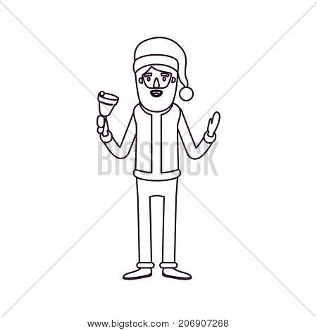 santa claus caricature full body holding a bell with hat and costume silhouette on white background vector illustration