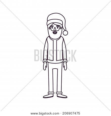 santa claus caricature full body with hat and costume silhouette on white background vector illustration