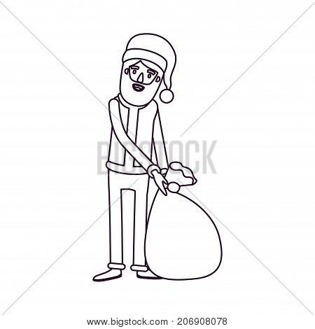 santa claus caricature full body dragging a gift bag hat and costume silhouette on white background vector illustration