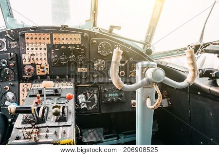 The Cockpit Of The Pilot Of The Old Turboprop Aircraft Of The Biplane, The Steering Wheel.
