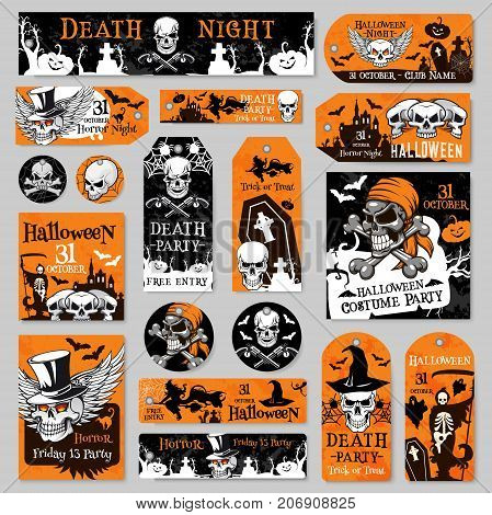 Halloween holiday tag and label set of night party celebration template. Skull, orange pumpkin lantern, bat and witch, scary death skeleton, spider web and black cat for greeting card and flyer design