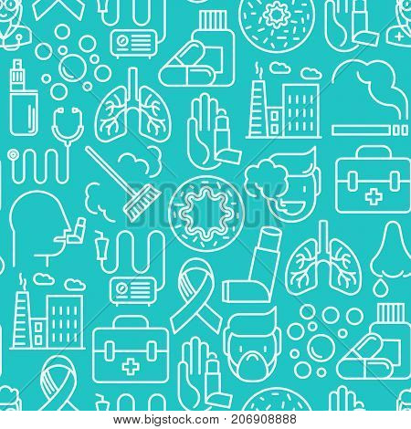 Asthma seamless pattern with thin line icons: air pollution, smoking, respirator, therapist, inhaler, bronchi, allergy symptoms and allergens. Vector illustration for background.